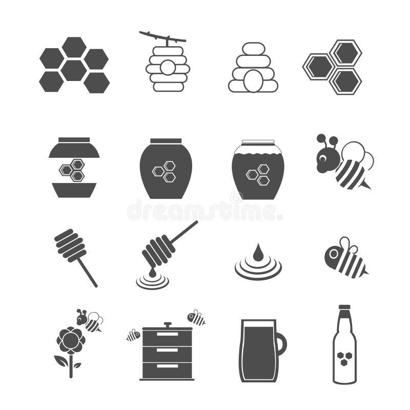 Pszczoły i miodu ikony ustawiać ilustracja wektor