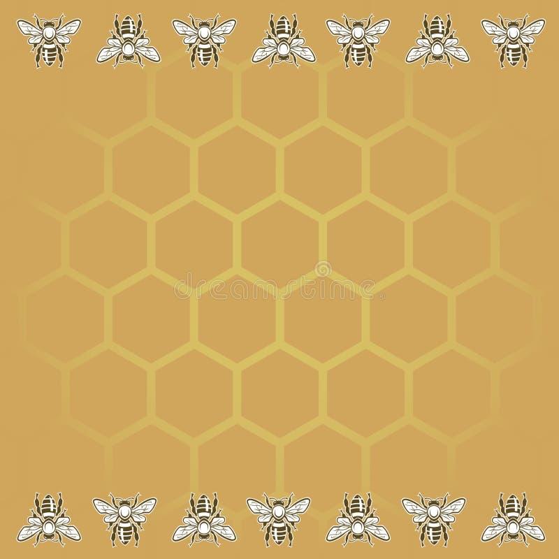Pszczoły i miodu tło ilustracja wektor