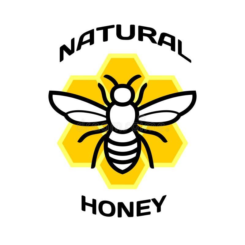Pszczoły ikona Naturalny miodowy pakunku logo royalty ilustracja
