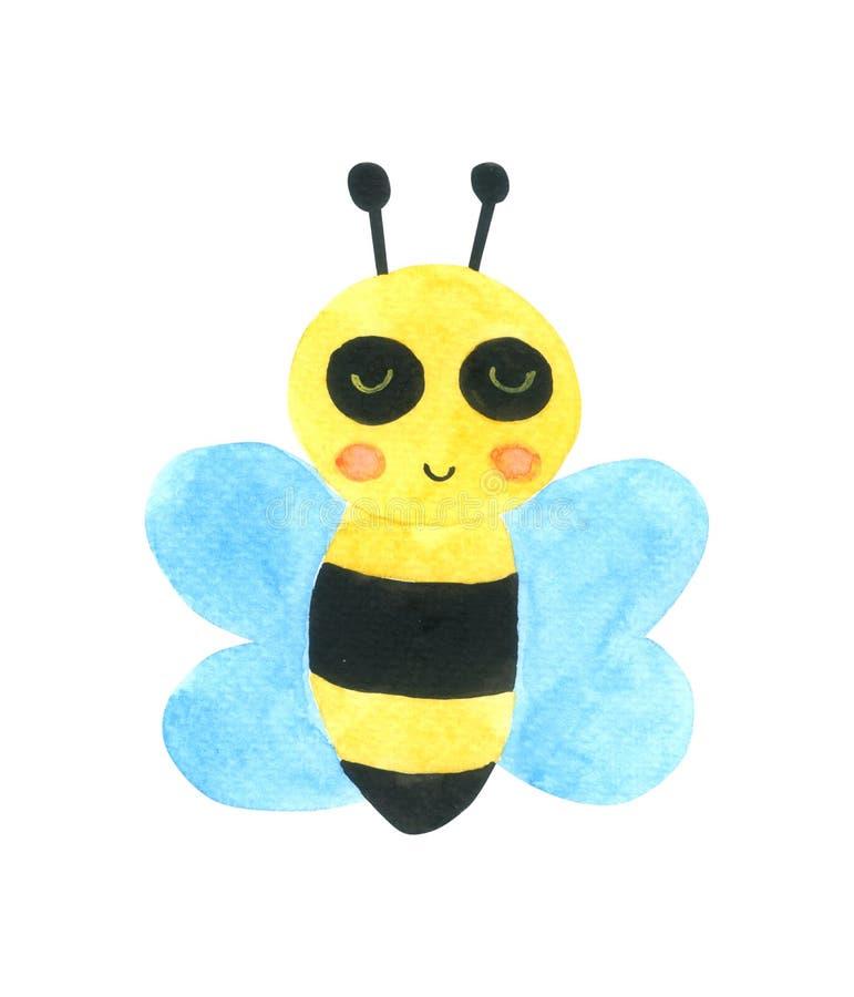 Pszczoły kreskówki akwarela odizolowywająca na białym tle royalty ilustracja