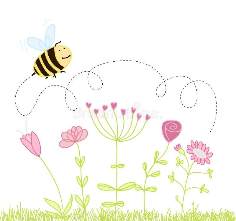 pszczoły kreskówki kwiaty royalty ilustracja