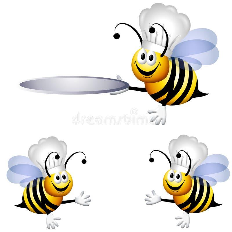 pszczoły kreskówki szef kuchni ilustracji