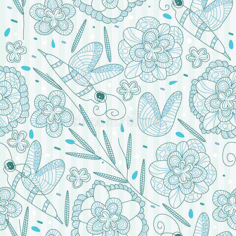 pszczoły kwiatu linie deseniują bezszwowego royalty ilustracja