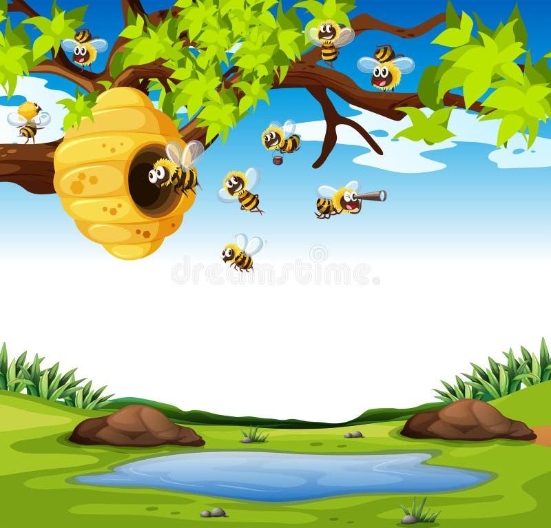 Pszczoły lata w ogródzie ilustracji