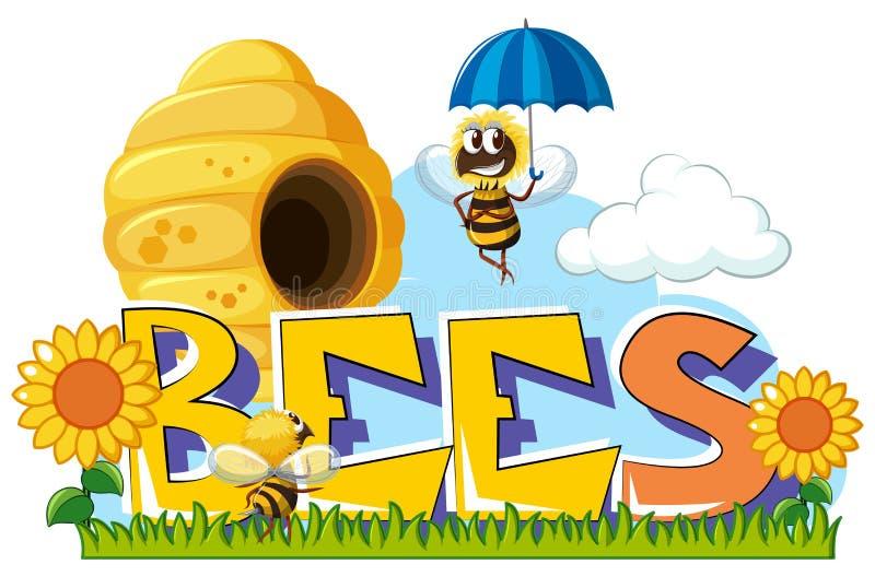 Pszczoły lata wokoło w ogródzie ilustracja wektor