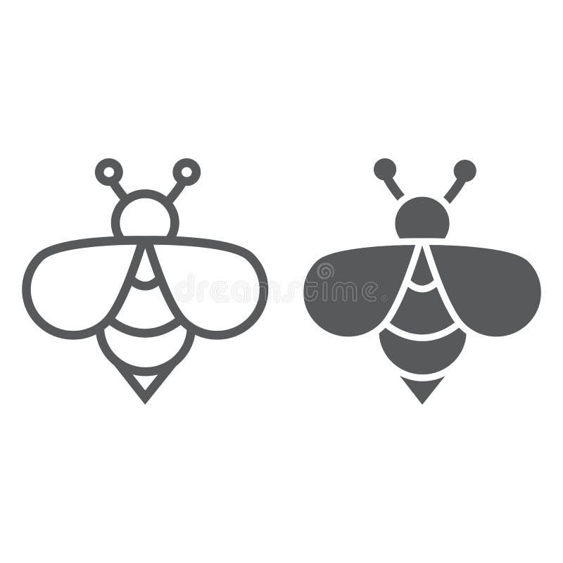 Pszczoły linia, glif ikona, zwierzę i miód, insekta znak, wektorowe grafika, liniowy wzór na białym tle royalty ilustracja