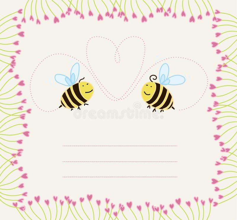 pszczoły miłość kwiecista ramowa royalty ilustracja