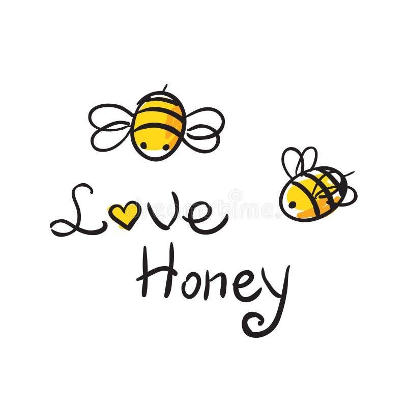 Pszczoły miłości miód ilustracja wektor