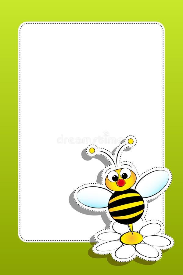 pszczoły pusta stokrotki rama ilustracji