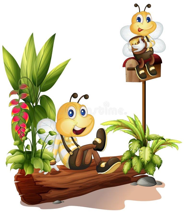 Pszczoły siedzi na bagażniku i na skrzynce pocztowa ilustracja wektor