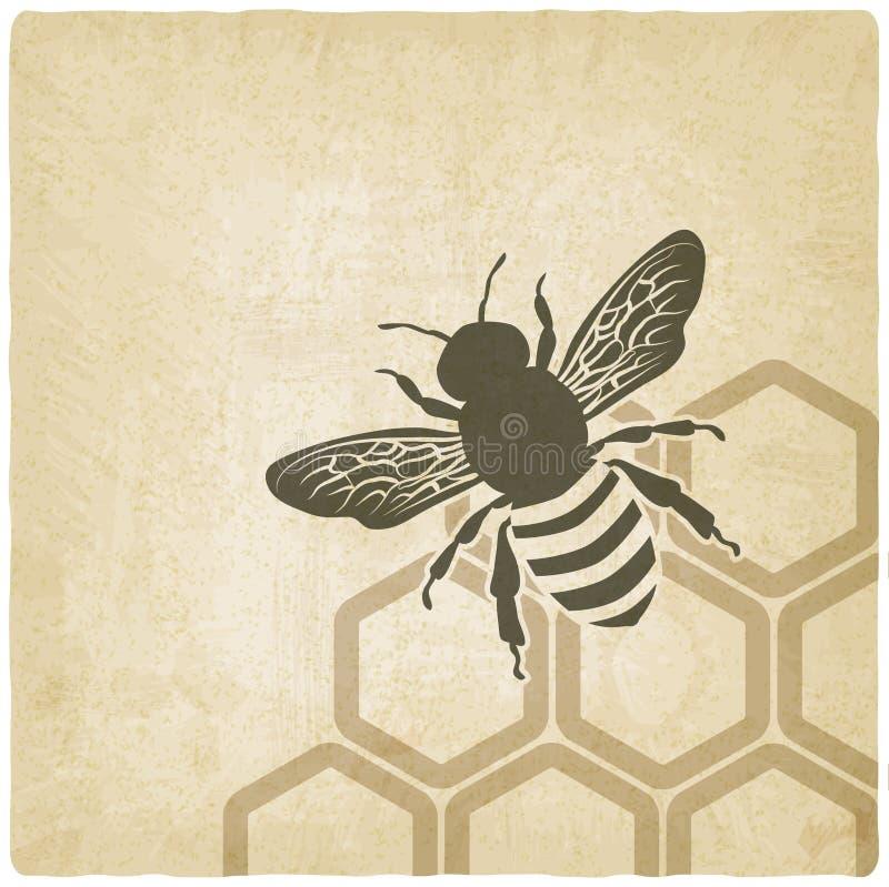 Pszczoły stary tło ilustracja wektor