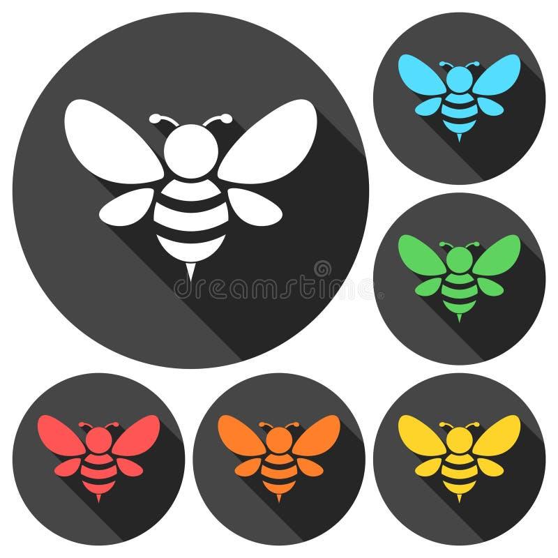 Pszczoły sylwetki ilustracyjne ikony ustawiać z długim cieniem ilustracji