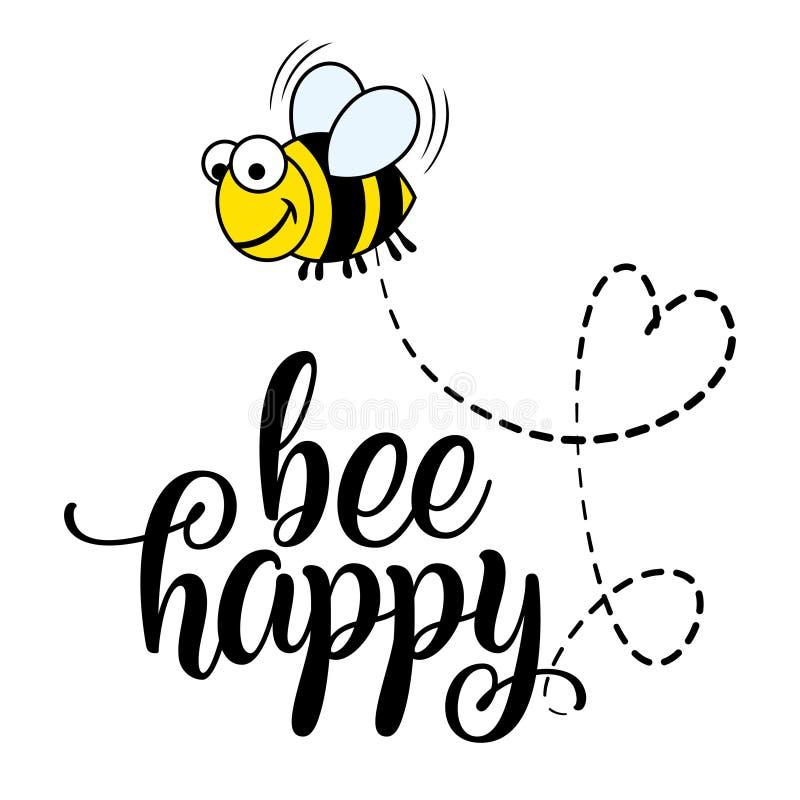 Pszczoły szczęśliwego ` teksta śmieszne wektorowe wycena i pszczoła rysunek ilustracja wektor