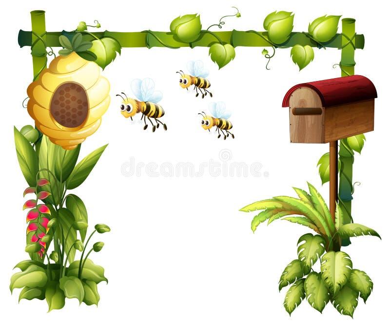 Pszczoły w ogródzie z skrzynką pocztowa ilustracja wektor