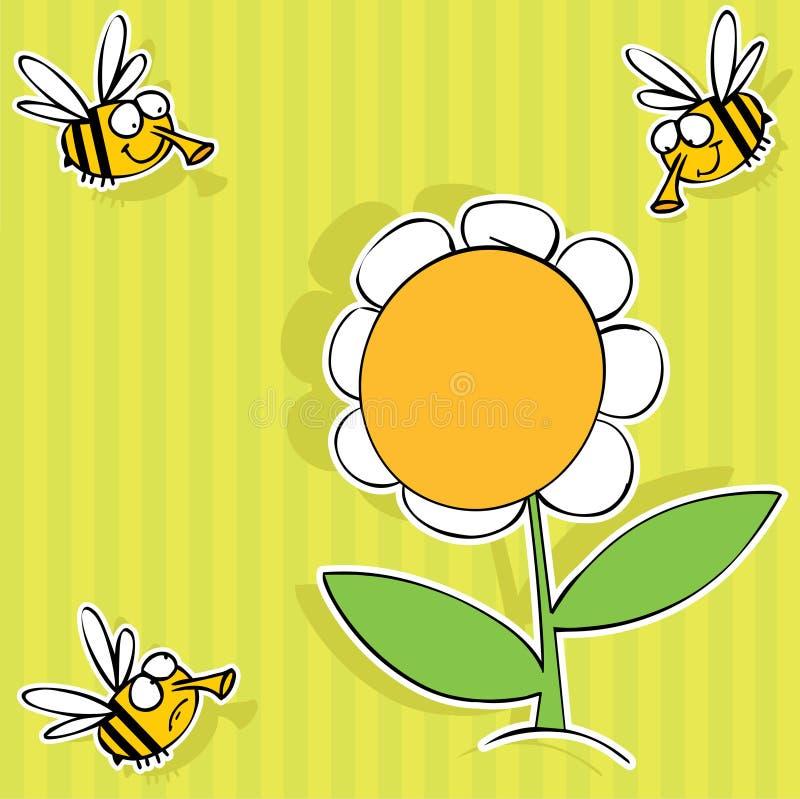 Download Pszczoła kwiat ilustracji. Obraz złożonej z gorący, kontur - 15560256