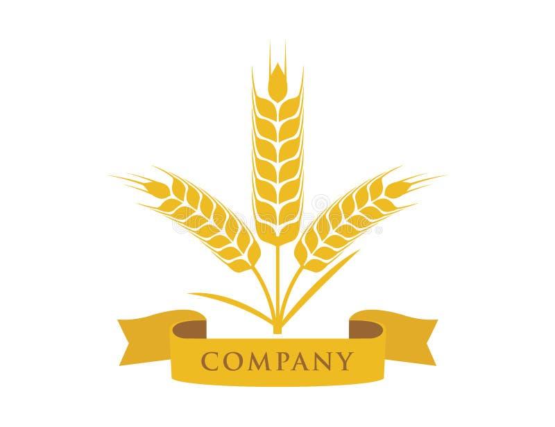 pszeniczna pokrzywy adra z tasiemkowego sztandaru logo wektorowym projektem ilustracji