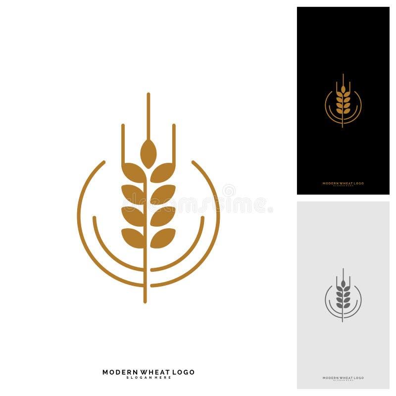 Pszeniczne luksusu chleba i adry etykietki Natury banatka Rolnictwo logo szablonu pszeniczny wektor ilustracji