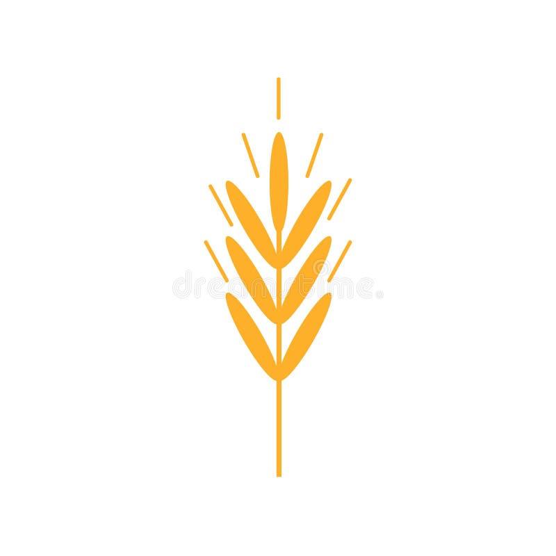 Pszeniczne ucho ikony Organicznie banatka, chlebowy naturalny i rolnictwo je Konturowe linie royalty ilustracja