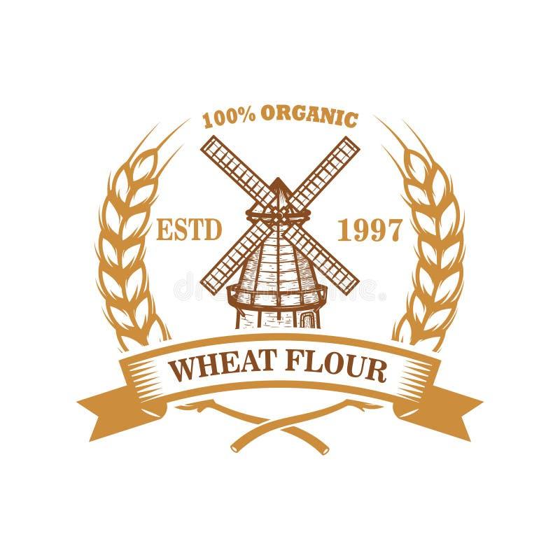 Pszenicznej mąki etykietki szablon z wiatrowym młynem Projektuje element dla loga, emblemat, znak, plakat, t koszula ilustracja wektor