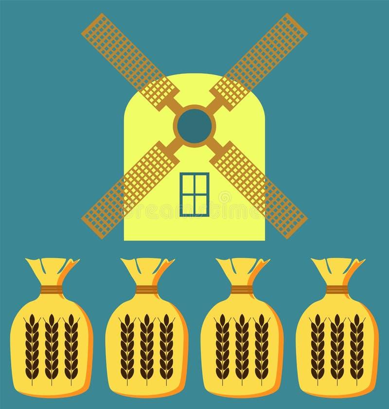 Pszeniczni ucho lub ryżowa ikona Uprawa symbol ilustracji
