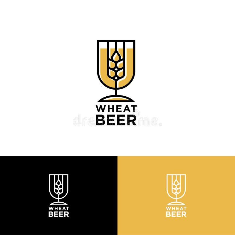 Pszeniczny Piwny logo Piwny pub lub Restauraunt emblemat Spikelet w Piwnym szkle Jak Heraldyczna osłona royalty ilustracja