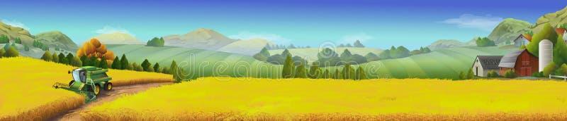 Pszeniczny pole, wiejski krajobraz ilustracji
