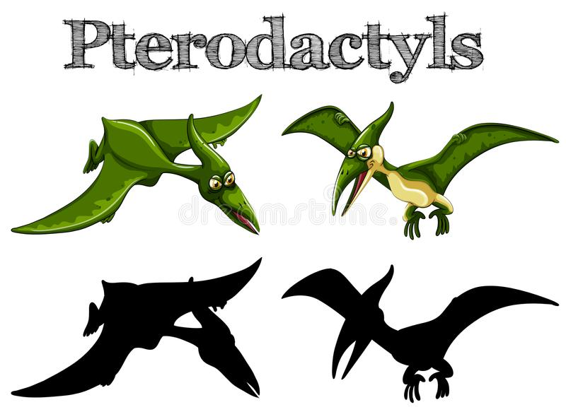 Ptérodactyles en vert et silhouette illustration de vecteur