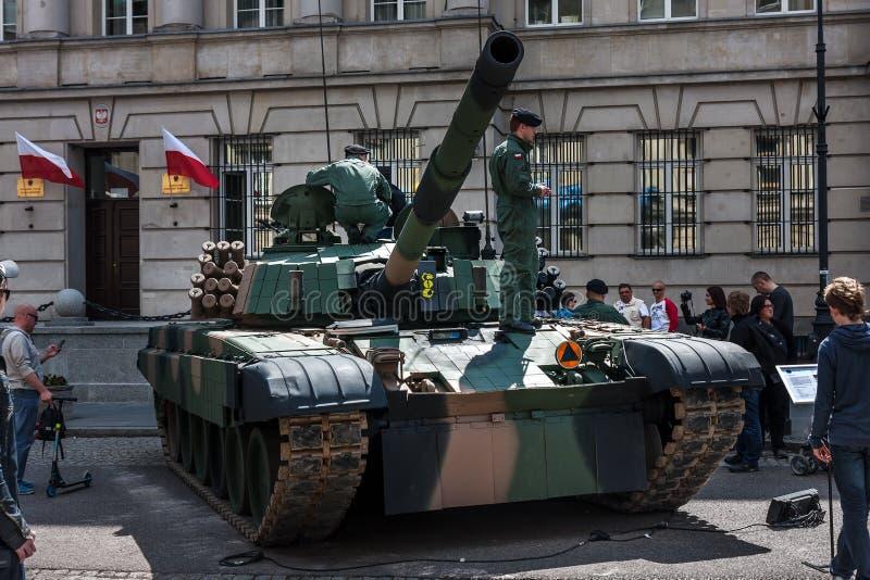 PT 91 Polish tank. WARSAW, POLAND - MAY 08, 2015: PT 91 Polish tank at the 70th anniversary of End of WW II royalty free stock images