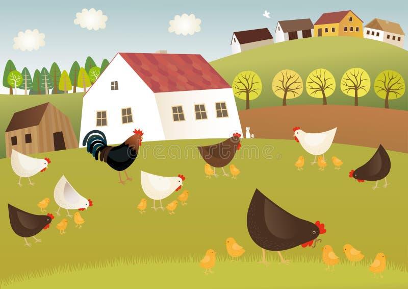 Ptactwa gospodarstwo rolne ilustracja wektor