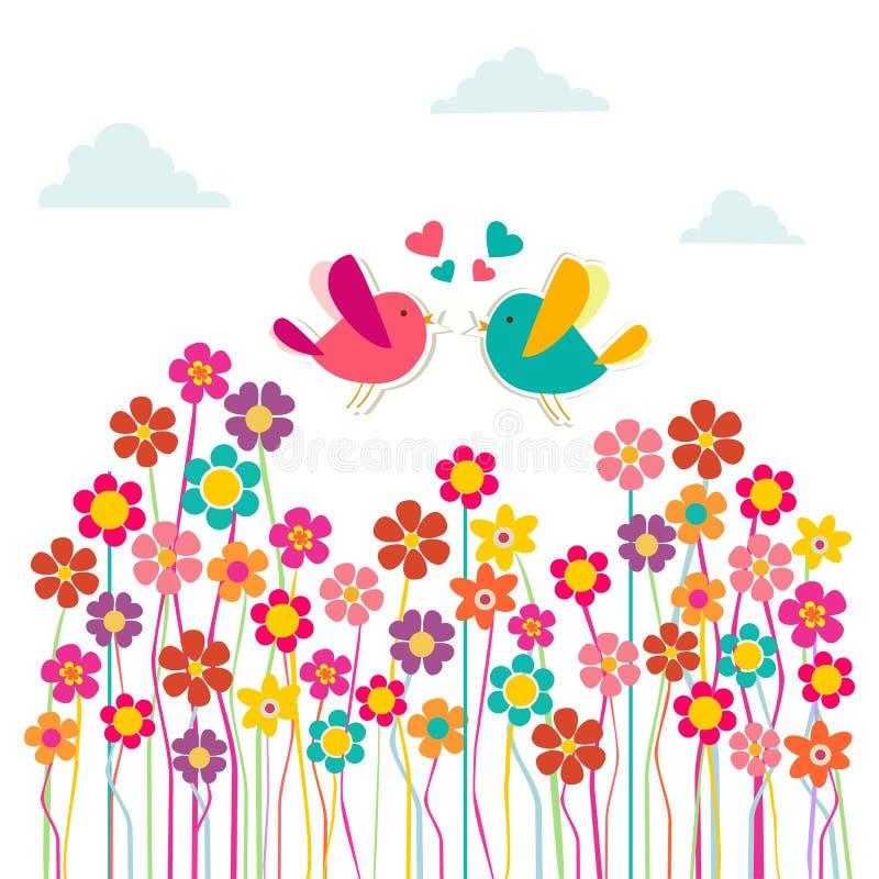 ptaków śliczny miłości socjalny ilustracja wektor
