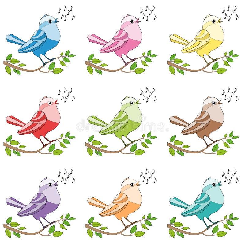 Ptaków śpiewających Kolorowi Śpiewaccy ptaki ilustracja wektor