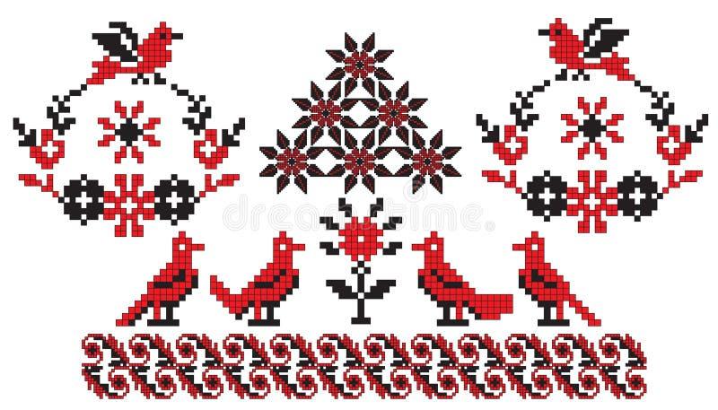 ptaków broderii ukrainian ilustracja wektor