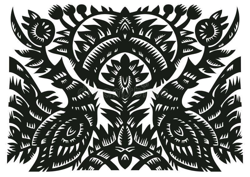 ptaków czarny dekoracyjny kwiatów wzór zdjęcie stock
