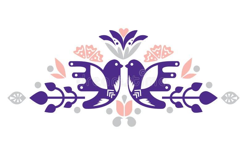 Ptaków dekoracyjni compositional elementy dla etykietek, karty, emblematy, logowie sztuki ceramika ludu miotacz royalty ilustracja