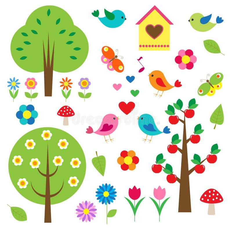 ptaków drzewa ilustracji
