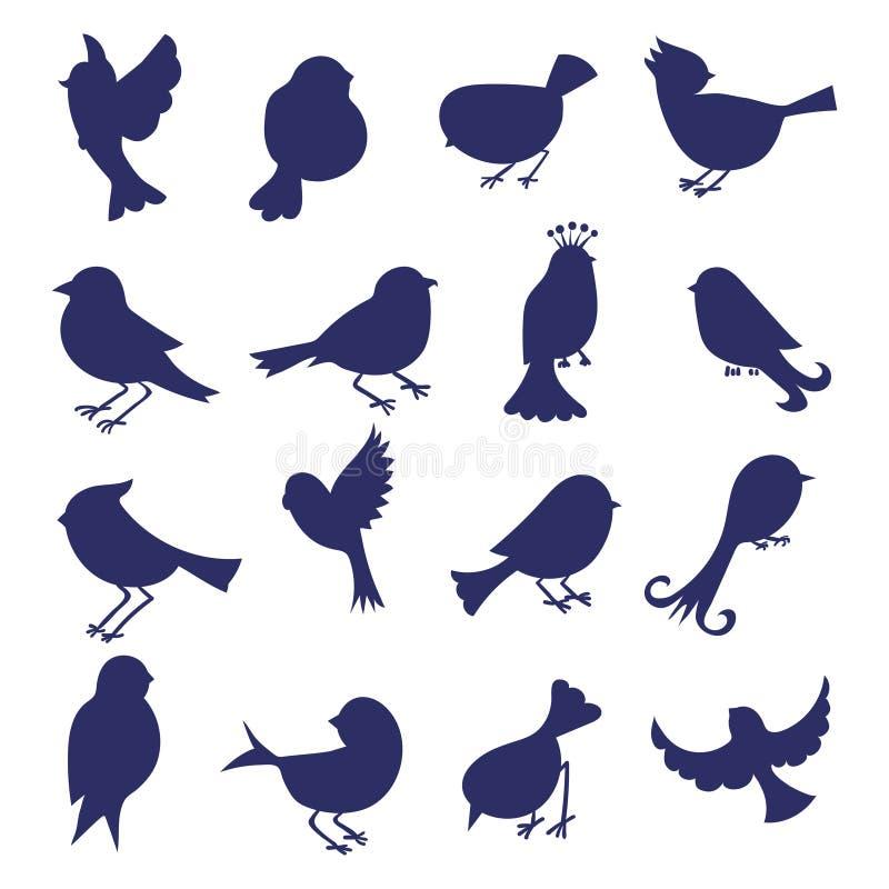 ptaków ilustracja odizolowywający sylwetek wektoru biel ilustracji