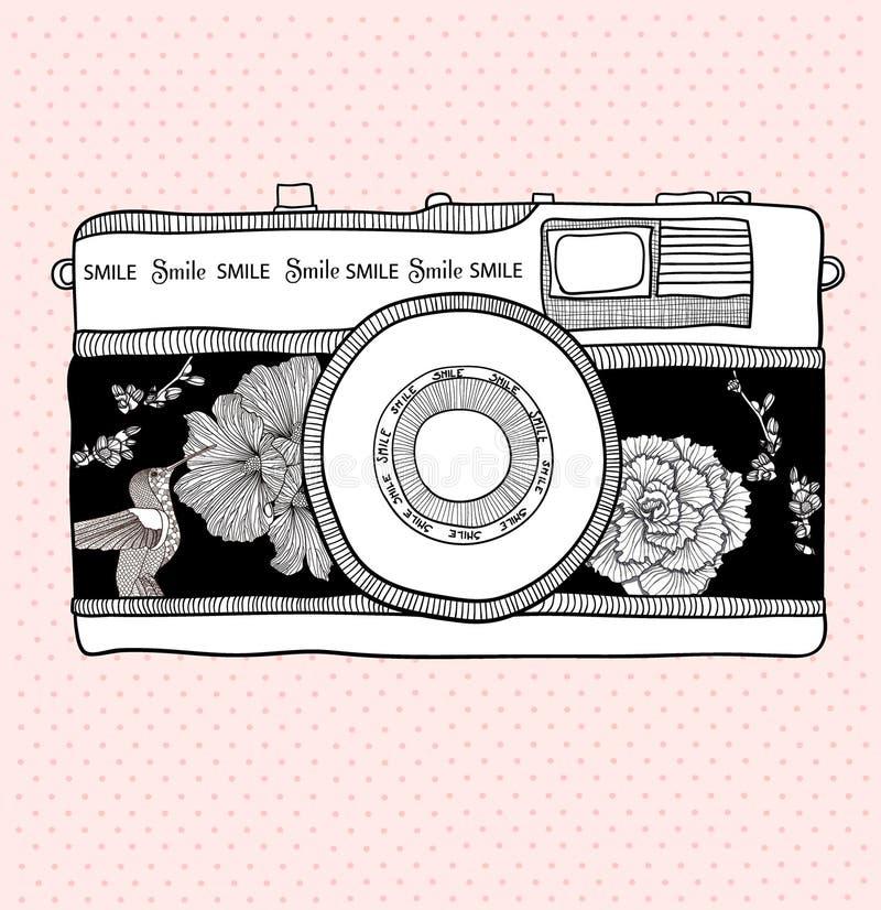 ptaków kamery kwiatów deseniowa fotografia retro royalty ilustracja