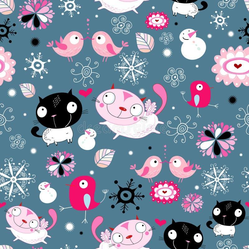 ptaków kotów miłości tekstura ilustracja wektor