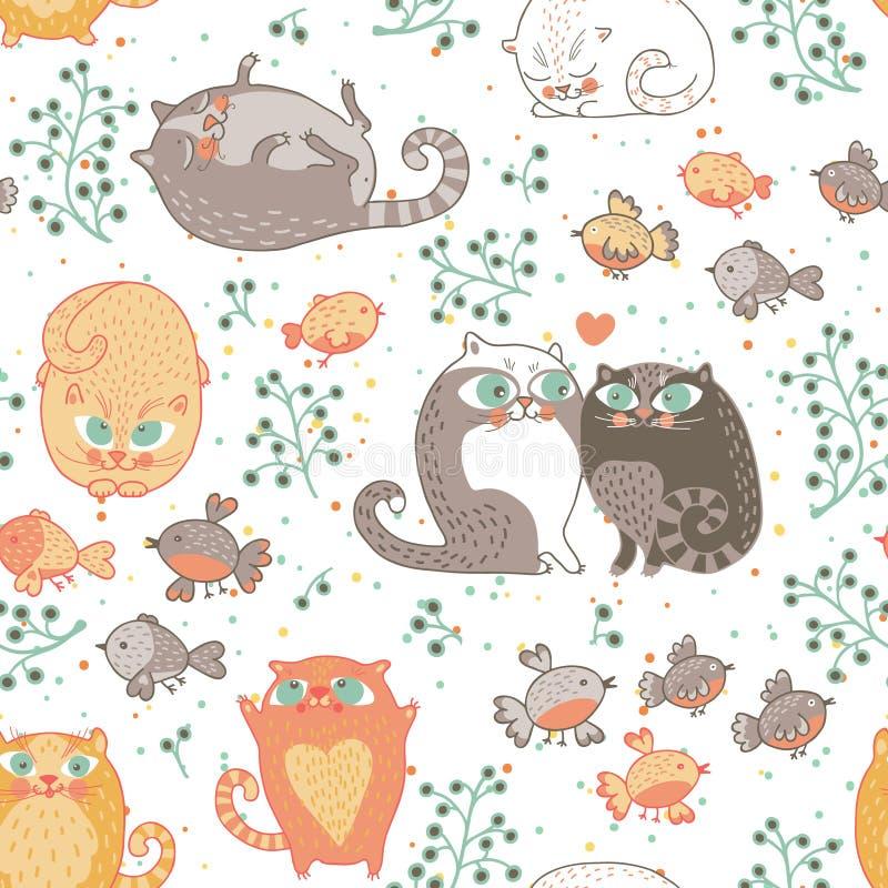 ptaków kotów wzór bezszwowy royalty ilustracja