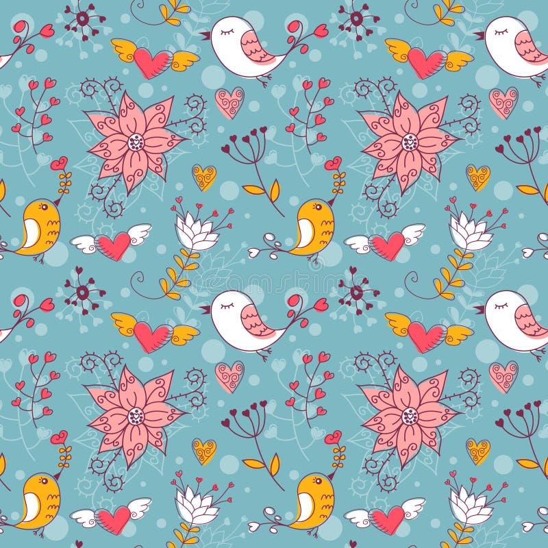 ptaków kwiatów miłości bezszwowa tekstura royalty ilustracja