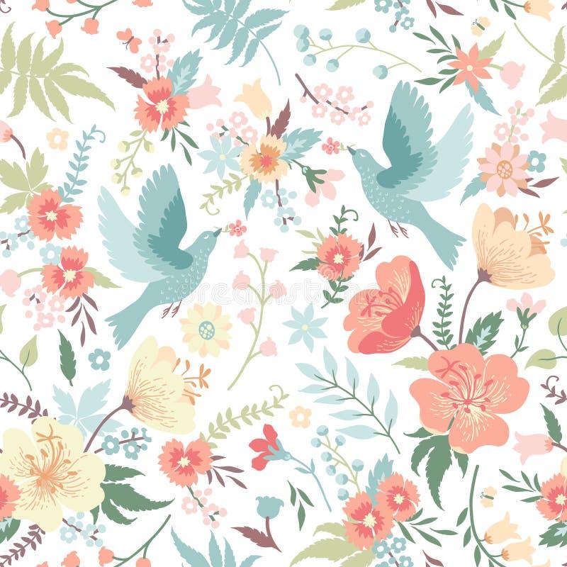 ptaków kwiatów wzór bezszwowy ilustracja wektor