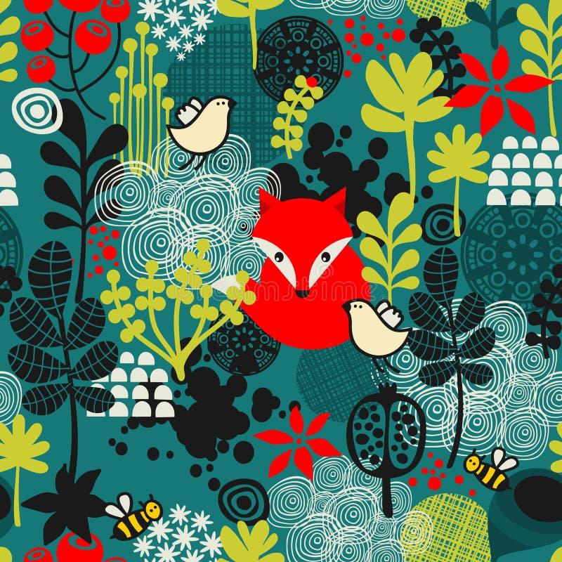 Ptaków, lisa i kwiatów bezszwowy wzór. ilustracja wektor