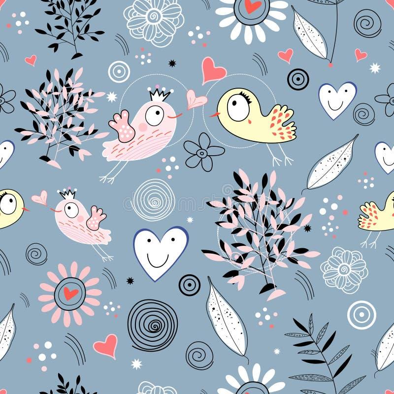 ptaków miłości tekstura royalty ilustracja
