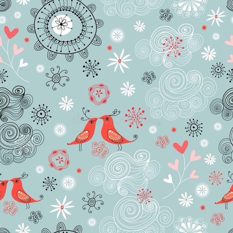 ptaków miłości wzór bezszwowy ilustracji
