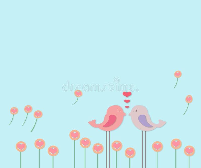 ptaków pary kwiatu mała miłość fotografia stock