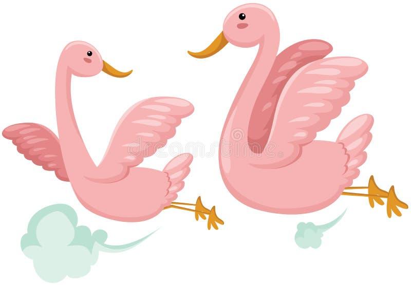 ptaków pary latanie ilustracja wektor