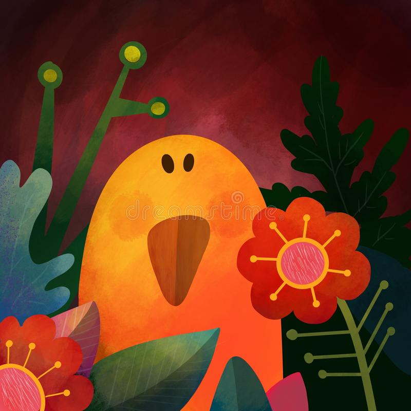 ptak Fantazja rysująca, stylizowana ilustracja ilustracji