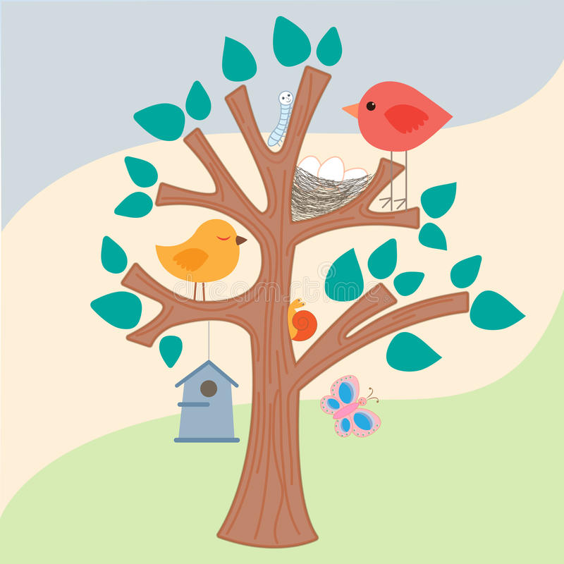Ptak, gniazdeczko i birdhouse na drzewie, ilustracji