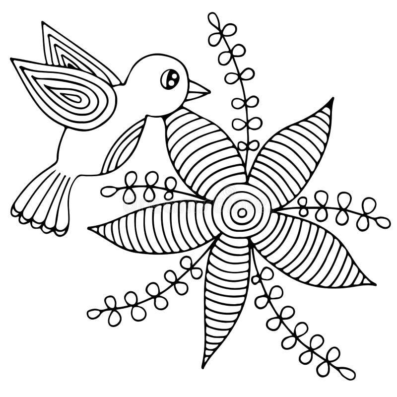 Ptak i abstrakcjonistyczny kwiat z liśćmi dla kolorystyki dorosłego lub dziecka ilustracji