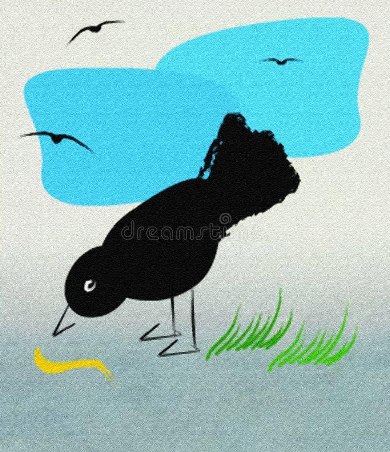 Ptak i dżdżownica zdjęcie royalty free